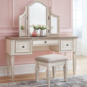 Туалетний столик з дзеркалом і пуфом Realyn